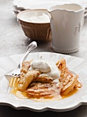 Crepes Suzette with whipped cream