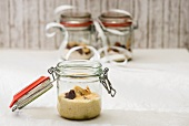 Couscous with dried fruit (prepared and dry mix) in jars