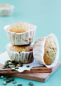Bran muffins with pumpkin seeds