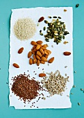 Flax seeds, pumpkin seeds, sunflower seeds and almonds