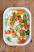 Mirepoix of Onions, Carrots, Celery, Orange and Sage in a Disposable Baking Pan