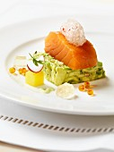 Salmon fillet on avocado tartare