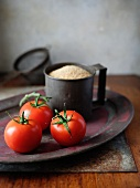 Vine tomatoes and cous cous