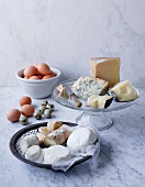Selection of cheese and eggs