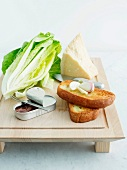Cos lettuce, parmesan, bread, garlic and anchovies