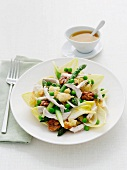 Asparagus, chicken and toasted bread salad