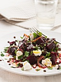 Beetroot salad with lentils and feta