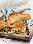 Crab pasties with green beans