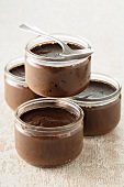 Mousse au chocolat in glass ramekins