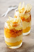 A layered dessert of stewed apricot and vanilla cream