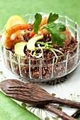 Red quinoa with prawns and avocado