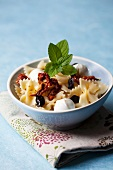 Pasta salad with mozzarella, dried olives and sundried tomatoes