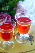 Rose syrup in two glasses