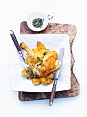 Corn-fed spring chicken with lemon thyme and roasted fennel