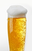 A glass of light beer with beer foam