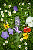 Home-made lavender spindle in a field of flowers