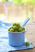 Green gooseberries in an enamel container