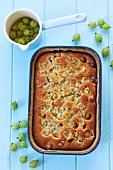 Gooseberry cake in the baking tin