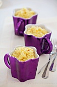 Three cups of lemon risotto with saffron