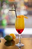 Sex on the Beach cocktail, with vodka, orange juice, raspberry juice and cranberry liqueur