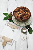 Cherry marble Bundt cake in the tin