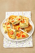 Potato tortilla with cherry tomatoes