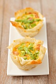 Mini Filo pastry quiches with asparagus