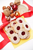 Linzer Plätzchen (nutty shortcrust jam sandwich biscuits) with redcurrant jam