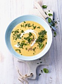 Cream of potato soup with herbs