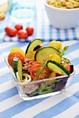 Cucumber and tomato salad with tuna