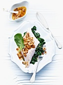 Rose fish with hazelnut butter and spinach