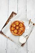 Tarte tatin with peaches