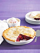 Berry and rhubarb pie with berry ice cream