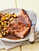 Fried Ham Steak with Red Eye Gravy and Home Fries