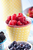 Fresh raspberries, blackberries and blueberries in bowls