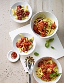 Noodles with assorted tomato sauces