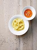 Spaghetti with pepper-almond pesto