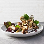 Warm mushroom salad with pine nuts