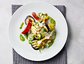 Grilled vegetable salad with pesto and parmesan