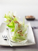 Waldorf salad with celery, apple and walnuts