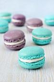 Blue and purple macarons