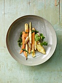 Roasted root vegetables with parsley pesto