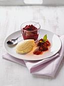 Raspberry cream with vanilla ice cream