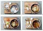 Chicken soup being prepared