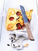 Cheese pie with pepper and squash seeds