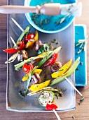 Colorful vegetable kebabs with mushrooms