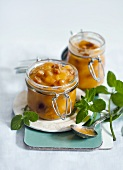 Fruit chutneys in pickling jars