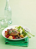 Moroccan-spiced lamb steak with vegetables