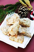 Christmas tree-shaped, puff pastry, vanilla, cookies with pine infused sugar