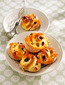 Rhubarb and blueberry whirls